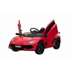 Noul Lamborghini Aventador, Roșu, Licență Originală, Cu Baterii, Uși care se deschid vertical, 2x motoare, Baterie 12 V, Telecomandă de 2.4 GHz, Roți Eva moi, Suspensii, Pornire lentă.