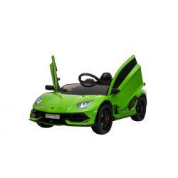 Noul Lamborghini Aventador, Verde, Licență Originală, Cu Baterii, Uși care se deschid vertical, 2x motoare, Baterie 12 V, Telecomandă de 2.4 GHz, Roți Eva moi, Suspensii, Pornire lentă.