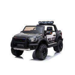 Mașinuță electrică de poliție Ford Raptor F150, roți EVA, suspensii de înaltă calitate, scaun dublu din piele, 2.4 GHz telecomandă, pornire cu cheie, 2 X MOTOARE, USB, card SD, licență ORIGINALĂ