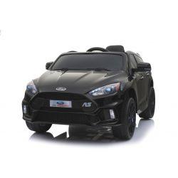 Mașinuță electrică pentru copii Ford Focus RS, Neagră, Licență Originală, cu Baterii, Uși care se deschid, Scaune din Piele, 2x Motoare, Baterie de 12 V, Telecomandă 2.4 Ghz, roți ușoare EVA,  pornire Lină