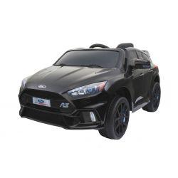 Mașinuță electrică pentru copii Ford Focus RS, vopsită negru, Licență Originală, cu Baterii, Uși care se deschid, Scaune din Piele, 2x Motoare, Baterie de 12 V, Telecomandă 2.4 Ghz, roți ușoare EVA,  pornire Lină