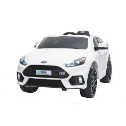 Mașinuță electrică pentru copii Ford Focus RS, Albă, Licență Originală, cu Baterii, Uși care se deschid, Scaune din Piele, 2x Motoare, Baterie de 12 V, Telecomandă 2.4 Ghz, roți ușoare EVA,  pornire Lină