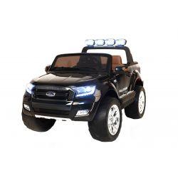 Mașinuță electrică de lux pentru copii Ford Ranger Wildtrak, 4x4 LCD, ecran LCD, 2.4 Ghz, 2x12V,  4x Motoare, telecomandă, două scaune din piele, roți ușoare Eva, Radio FM, Bluetooth, Negru