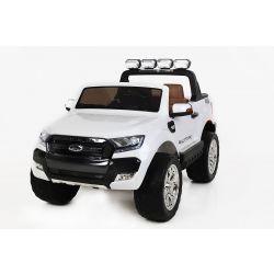 Mașinuță electrică de lux pentru copii Ford Ranger Wildtrak, 4x4 LCD, ecran LCD, 2.4 Ghz, 2x12V,  4x Motoare, telecomandă, două scaune din piele, roți ușoare Eva, Radio FM, Bluetooth,  alb