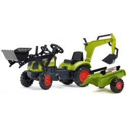 Tractor cu pedale FALK 2040N Claas Arion 410 cu cupă, excavator și remorcă