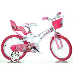 """Bicicletă pentru copii -16"""" Dino 616NN Minnie  cu scaun pentru păpușă și coș"""