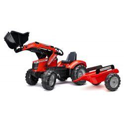 Tractor pedală FALK Massey Ferguson S8740 cu încărcător frontal și remorcă