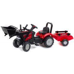 FALK Tractor cu pedale 961AM Case cu încărcător și remorcă