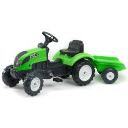 FALK Tractor cu pedale 2057J Garden master verde, cu remorcă