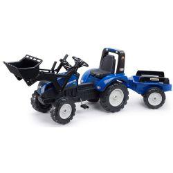 Tractor  cu pedale Falk New Holland T8 cu cupă și remorcă 3090M