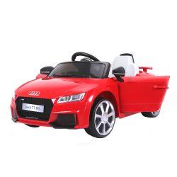 Mașinuță electrică pentru copii Audi TT, Roșie, Licență Originală, cu Baterii, Uși care se deschid, Scaun din Piele, 2x Motoare, Baterie de 12 V, Telecomandă 2.4 Ghz, roți ușoare EVA,  pornire Lină