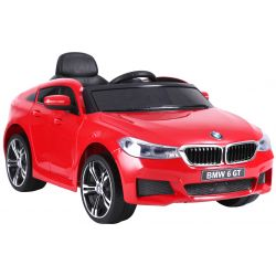 Mașină electrică BMW 6GT - roșu, original, licențiat, uși care se deschid, 1 scaun, 2x motoare, baterie 2x 6V/4 Ah, telecomanda 2.4 Ghz, roti soft EVA, pornire ușoară