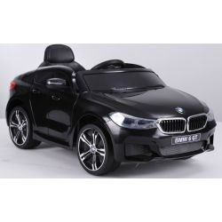 Mașină electrică BMW 6GT - negru, original, licențiat, uși care se deschid, 1 scaun, 2x motoare, baterie 2x 6V/4 Ah, telecomandă 2.4 Ghz,  pornire ușoară