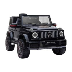 Mașinuță electrică New Mercedes G, negru, licență originală, baterii, uși care se deschid,  2x motoare, baterie 12 V, telecomandă 2.4 Ghz, suspensie spate, pornire lină