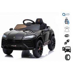 Mașinuță electrică pentru copii, Lamborghini URUS, Negru, licențiată originală, alimentată cu baterii, deschidere uși, 2x motoare, baterie 12 V, telecomandă 2,4 Ghz, roți moi EVA , suspensii, pornire lină