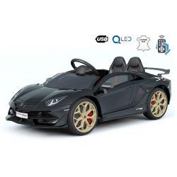 Masinuta electrica pentru copii Noul Lamborghini Aventador, Negru, Licență Originală, cu Baterii, Uși care se deschid vertical, 2x motoare, Baterie 12 V, Telecomandă de 2.4 GHz, Roți Eva moi, Suspensii, Pornire lină