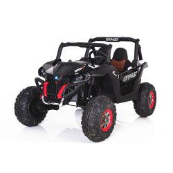Mașinuță electrică pentru copii NOUL RSX tip ATV, 24 V Neagră-2.4Ghz, 4x Motoare, telecomandă, 2 scaune, cheie pentru pornire, roți ușoare Eva, USB, Card SD
