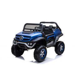Mașinuță electrică pentru copii Mercedes Unimog, vopsită albastru, tracțiune 4x4, baterie 12V / 14Ah, roți EVA, două locuri, Telecomandă 2.4 GHz, 4 X MOTOARE,  USB, card SD, Radio