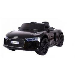 Mașinuță electrică pentru copii Noul Audi R8 Spyder, Negru, Licență Originală, cu Baterii, Uși care se deschid, Scaune din Piele, 2x Motoare, Baterie de 12 V, Telecomandă 2.4 Ghz, roți ușoare EVA,  pornire Lină,  USB,SD