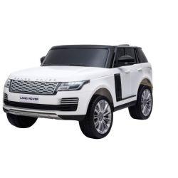 Mașinuță electrică pentru copii RANGE ROVER, alb, scaun dublu din piele, ecran LCD cu intrare USB, 4x4, baterie 2x 12V7Ah, roți EVA, suspensii, pornire cu cheie, telecomandă Bluetooth de 2,4 GHz