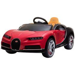Bugatti Chiron, Rosu, Licență Originală, Baterie, Deschidere Portiere, Scaun din piele, 2 x 12V Motoare, Telecomandă 2,4 Ghz, Roți spuma EVA