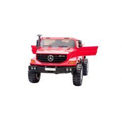 Mașinuță electrică Mercedes-Benz Zetros 24V, Roșie, Suspensie pe 4 roți, 24V, 2 x 120W MOTOR, Frână electrică, 2 scaune din piele, Roți Soft EVA, Radio FM, MP3 USB SD, Licență originală Mercedes