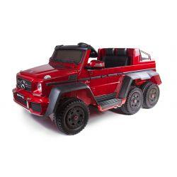 Mașinuță electrică pentru copii Mercedes-Benz G63 6X6 Truck, Roșu, Ecran LCD, 6 roți, Roți cu iluminare din spate, 12V14AH, Baterii portabile, Scaun din piele, telecomandă 2.4 GHz, cheie de pornire, 4X motoare, Două pedale