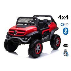 Mașinuță electrică pentru copii Mercedes Unimog, Roșu, tracțiune 4x4, baterie 12V / 14Ah, roți EVA, două locuri, Telecomandă 2.4 GHz, 4 X MOTOARE,  USB, card SD, Radio