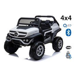 Mașinuță electrică pentru copii Mercedes Unimog, Albă, tracțiune 4x4, baterie 12V / 14Ah, roți EVA, două locuri, Telecomandă 2.4 GHz, 4 X MOTOARE,  USB, card SD, Radio